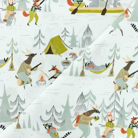 Dear Stella Poplin fabric - white Camp Wanter x 10cm