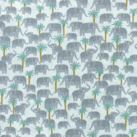 Born to be wild - Dear Stella Poplin fabric - white Elephant x 10cm