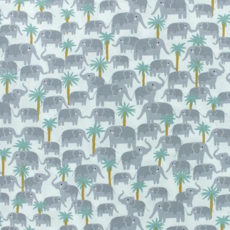 Born to be wild - Dear Stella Poplin fabric - white Elephant x 10cm