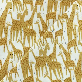 Born to be wild - Dear Stella Poplin fabric - white Giraffe x 10cm