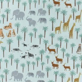 Tissu Popeline Dear Stella Born to be wild Safari - vert x 10cm