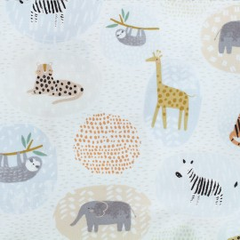 Tissu Popeline Dear Stella Born to be wild Animal Safari - blanc x 10cm