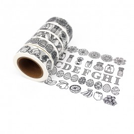 Masking Tape à Motif (Pack de 6) - Noir & Blanc