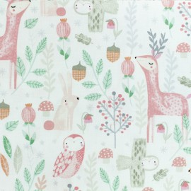 Timeless Treasures Poplin fabric - Sweet Woodland - Cream x 10cm