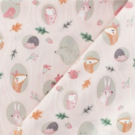 Timeless Treasures Poplin fabric - Sweet Woodland - blush pink Animals x 10cm