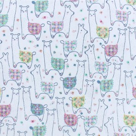 Dear Stella Poplin fabric - white Llama land x 10cm
