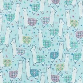Tissu Popeline Dear Stella - Llama land - Bleu x 10cm