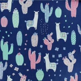 Tissu Popeline Dear Stella - No Probllama - Bleu x 10cm