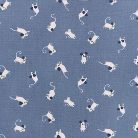 Dear Stella Poplin fabric - bluish grey Mousing around x 10cm