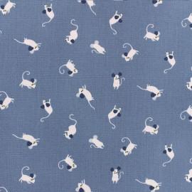 Tissu Popeline Dear Stella - Mousing around - Bleu gris x 10cm