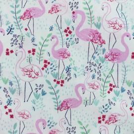 Tissu Popeline Dear Stella - Let's Flamingle - Blanc x 10cm