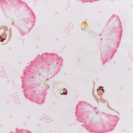 Tissu Popeline Timeless Treasures - Tossed Ballerinas - Rose x 10cm