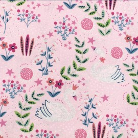 Timeless Treasures cotton fabric - Pink Dainty Swan x 10cm