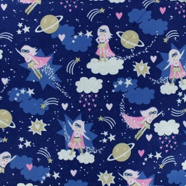 Timeless Treasures cotton fabric - Blue Supergirl x 10cm