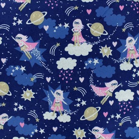 Tissu coton Timeless Treasures - Supergirl - Bleu x 10cm