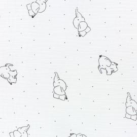 Tissu double gaze de coton Elephant - Blanc x 10cm
