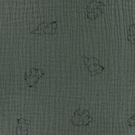 Tissu double gaze de coton Elephant - vert kaki x 10cm
