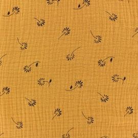 Tissu double gaze de coton Bloom - jaune moutarde x 10cm