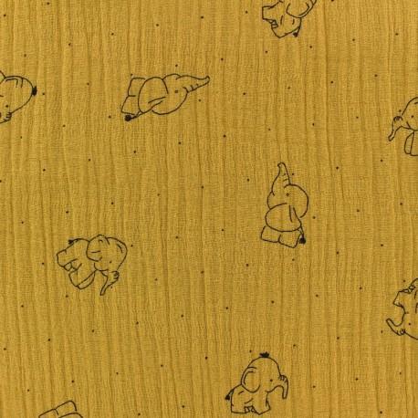 Tissu double gaze de coton Elephant - jaune moutarde x 10cm