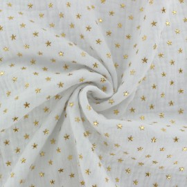 Double cotton gauze fabric - white Golden star x 10cm