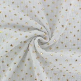 Tissu double gaze de coton étoile dorée - blanc x 10cm