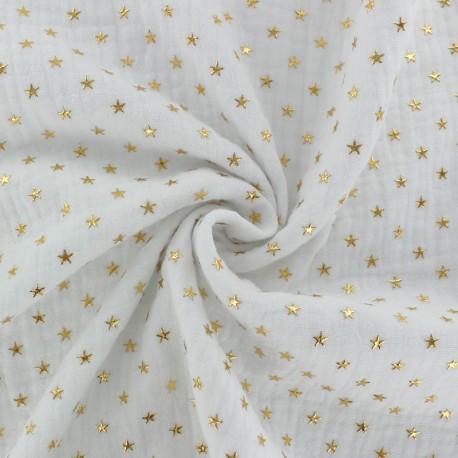 Double cotton gauze fabric - white Golden star x 10cm