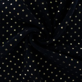 Double cotton gauze fabric - black Golden star x 10cm
