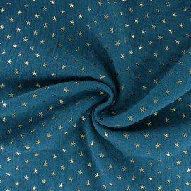 Double cotton gauze fabric - peacock blue Golden star x 10cm