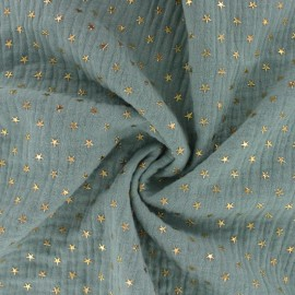 Double cotton gauze fabric - Eucalyptus Golden star x 10cm