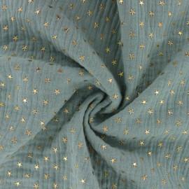 Tissu double gaze de coton étoile dorée - paon x 10cm