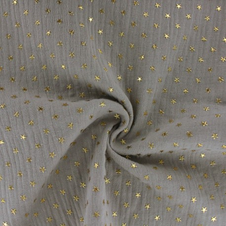 Double cotton gauze fabric - linen beige Golden star x 10cm