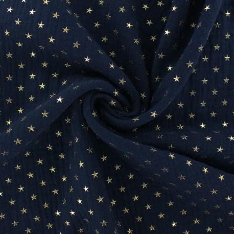 Double cotton gauze fabric - ocean blue Golden star x 10cm