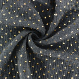 Tissu double gaze de coton étoile dorée - Gris ardoise x 10cm