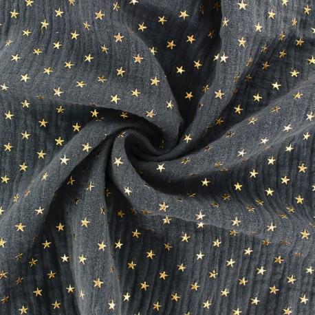 Double cotton gauze fabric - navy blue Golden star x 10cm