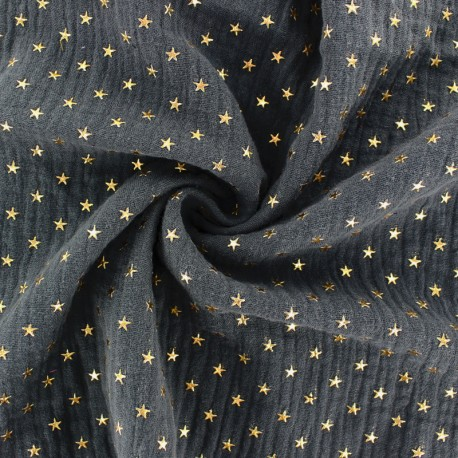 Tissu double gaze de coton étoile dorée - bleu marine x 10cm