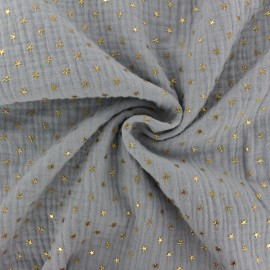 Double cotton gauze fabric - Slate grey Golden star x 10cm