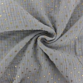 Double cotton gauze fabric - Slate grey Golden star x 10cm