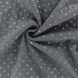 Double cotton gauze fabric - grey Golden star x 10cm