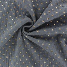 Tissu double gaze de coton étoile dorée - gris x 10cm