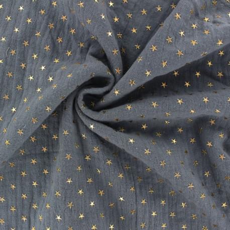 Tissu double gaze de coton étoile dorée - Fumée x 10cm