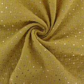Double cotton gauze fabric - Mustard yellow Golden star x 10cm
