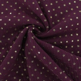 Double cotton gauze fabric - purple red Golden star x 10cm
