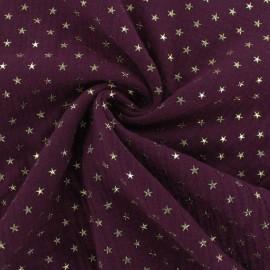 Tissu double gaze de coton étoile dorée - lie de vin x 10cm