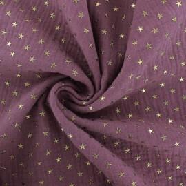 Tissu double gaze de coton étoile dorée - figue x 10cm