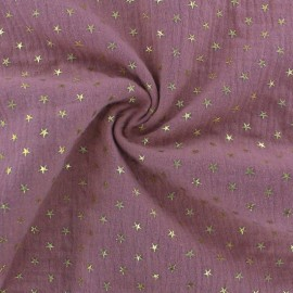 Double cotton gauze fabric - Pink Golden star x 10cm