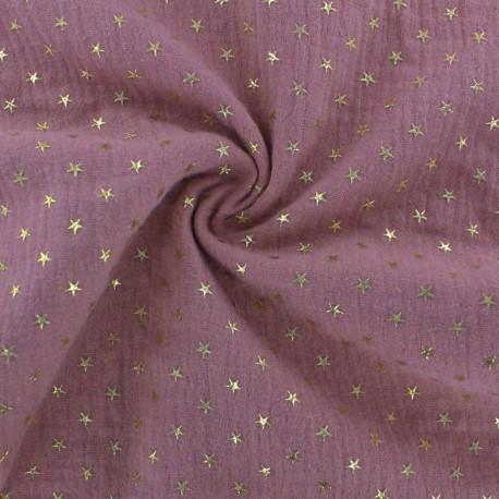 Tissu double gaze de coton étoile dorée - rose x 10cm