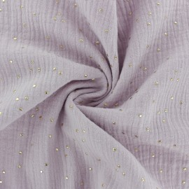Double cotton gauze fabric - Rose water Golden Dots x 10cm