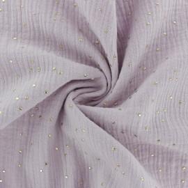 Tissu double gaze de coton pois doré - eau de rose x 10cm