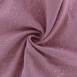 Double cotton gauze fabric - Quartz Pink Golden Dots x 10cm