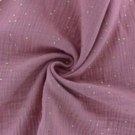 Tissu double gaze de coton pois doré - rose quartz x 10cm